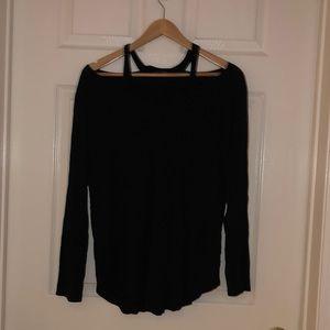 Flowy cold shoulder black top